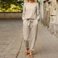 Women's Two Piece Pants Cotton Matching Sets Women Elegant 2PCS Solid Suits ZANZEA Autumn Casual Long Sleeve Blouse Elastic Waist Oversized