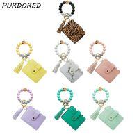 Card Holders PURDORED 1 Pc 13 Colors Fashion Women Bracelets Holder Leopard Female Business Case Wristband Key Chain For Men