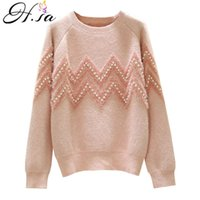 H.SA Women Sweaters Oneck High Quality Pearl Beading Loose Sweater Tops Pink Mohair Full Jumpers Spring Casual Outerwear 210716