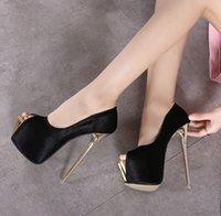 16cm Ultra high heel peep toe platform pumps sexy women nightclub prom gown wedding shoes size 34 to 40
