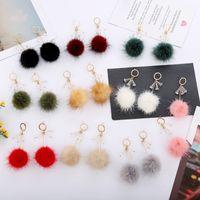 Süße Kaninchenfellkugel Lange Tropfen Ohrringe Mode Pelzige Ball Ohr Für Frauen Einzigartige Koreanische weiche Baumeln Ohrring Schmuck Brinco Bijoux