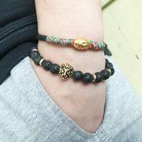 2021 abc men volcano stone Buddha beads elastic strands bracelet 2021 newest hotsell bracelets