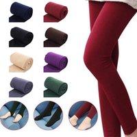 Mujeres otoño color sólido vellón vellón cálido cosecha estribo pantimedias leggings invierno punto pantyhoses socks calcetines calcetines