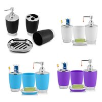 Toothbrush Holders 4Pcs Set Bathroom Suit Set Bathing Accessories Goods Includes Soap Box Cup Holder Dispenser Dish