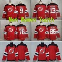 2020 Youth Women 9 Taylor Hall Jersey Kids New Jersey Devils 76 Subban 13 Nico Hischier 86 جاك هيوز أحمر الهوكي الفانيلة الفتيان السيدات