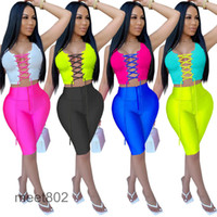 Summer Womens Bandage Tracksuits Two Piece Set Cutout Stitching T Shirt Short Sleeves Tops Pants Outfits Fashion Jogging Suits 588