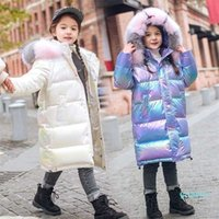 -30 winter clothing waterproof real fur hooded shiny Down coat jacket for girl Teenage 6 8 12 14 parka children kids clothes 211021