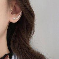 Stud 925 Sterling Silver Thin Curved Bar Geometric Earrings For Women Minimalist Zircon Jewelry S-E1313