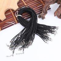 Cantos de joyería de alambre Componentes JoyeríaFaux redondo ajustable negro 3.0 mm, collar de cordón de cuero trenzado 19 pulgadas con cierre de langosta para DI