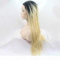 Кружева передняя оплетка парик черный до блондинки двух тон синтетическое теплостойкое волокна волосы блондинка омбре плетеные кружевные фронтские парики для женщин