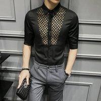 Verano camisa masculina nigth club camisas social moda sexy camisa camisa hombre vestido casual vestido de moda delgado ajuste medio manga de manga