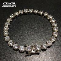 Lien, chaîne CYCM fleur CZ Tennis Bracelet 6mm largeur 8inch N'aimant jamais FACE en acier inoxydable micro pavé cubique zircon zircon hip hip hop bijoux