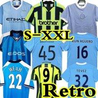 11 12 Retro Soccer Jersey Toure Yaya Balotelli City Classic Final 2011 2012 Man Kun Aguero Kompany Silva Tevez 96 97 98 99 00 قميص كرة القدم خمر