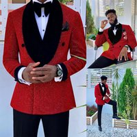 Glitter Red Sequins Mens Suits Groom Wear Wedding Blazer Tuxedos Formal Business Prom Pants Coat Jacket 3 Pieces