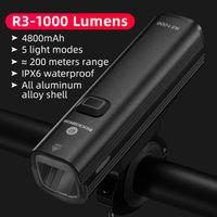 ROCKBROS 1000Lumen Bicycle Front Light Bike Head Lamp Flashlight Handlebar USB Charging Headlights