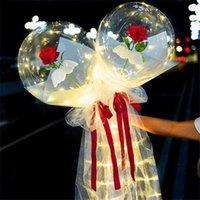 LED leuchtender Ballon Rose Blumenstrauß Transparent Bobo Ball Rose Valentinstag Geschenk Geburtstags-Party Hochzeitsdekoration Ballons