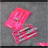 Commercio all'ingrosso 5pcs in acciaio inox clipper kit set manicure pedicure forbice da forbice tweezer knife orecchio per chiodo Set di cura del chiodo 8hfth 71o6z