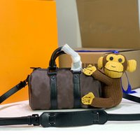 المرأة حقيبة الكتف محفظة حقيبة يد جودة عالية الكلاسيكية إلكتروني طباعة الأزياء القرد دمية قماش أسود جلد طبيعي سستة انفصال حزام
