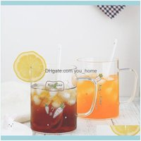 Kitchen, Dining Bar & Gardencute Creative Glass Mug With Spoon Transparent Simple Girl Juice Coffee Cocktail Cup Drinkware Home Container Mm