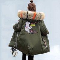 Giacca invernale donna ricamo cappotti grossi colletto di pelliccia con cappuccio piumino con cappuccio caldo lungo parka signore addensare giacche di cotone e cappotti 210521
