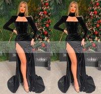 Elegant Long Sleeves Black Mermaid Evening Dress High Neck Velvet High Side Split Caftan Arabic Prom Gowns Party Dresses Custom Made