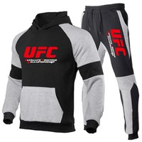 Толстовки толстовки повседневные мужские MMA боевые спортивные спортивные UFC Pullover осенью и зимний флис брюки костюм 9ZTU
