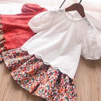 Clothing Sets Girls Outfits Baby Clothes Kids Children Summer Cotton Short Sleeve Lace T-shirts Flower Skirts 2Pcs 2-7Y B5220