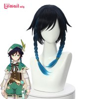 L-email wig Genshin Impact Ombre Blue s with Braids Ponytails Bangs Synthetic Hair Venti Cosplay Wig