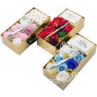 Teacher's Day Soap Flower Gift Box Party Favor Fashion Everlasting Rose With LED Light And Ballpoint Pen Creative Gifts