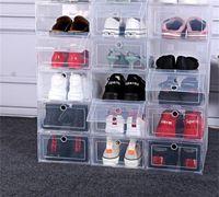 6 unids zapatos de plástico caso engrosado caja de cajón transparente cajas de plástico caja apilable caja de zapatos zapato caja de zapatos 1457 v2