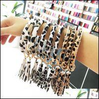 Rings Jewelryleopard Print Wrap Bracelet Keyring Chain Tassel Pu Leather Bracelets O Key Ring Circle Bangle Wristlet Keychain Jewelry Drop D