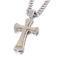 Pendant Necklaces Double Layer Huge Cross Convex Arc Bling For Men Iced Out Chain Zircon Hip Hop Style Charm Jewelry Necklace