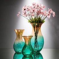 Vases Modern Yellow Green Ice Crack Vase Creative Hydroponic Flower Glass Flowerware Desktop Dried Flowers Flowerpot Home Decor