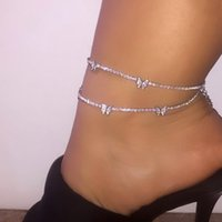 Caraquet 4mm Iced Out Bling Rhinestone Tennis Chain Anklets for Women Jewelry Metal Butterfly Link Chain Anklet Beach Foot Chain
