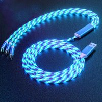 3 in 1 LED Flowing USB Cable Cell Phone Charging Cables Fast Charger Safer Smart Power Shining Light Up Cord 2.4A For iPhone Samsunf Huawei