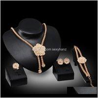 Drop Dr. Entrega 2021 Anillos Pulseras Neckalces Pendientes Conjuntos Moda Mujeres Full Rhinestone 18k Gold Chapado Aley Flowers Party Jewelry