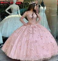Ball Gown rose gold Quinceanera Dresses Bridal Gowns Sweetheart Long Sleeve lace-up Sweet 16 Dress evening dress vestidos de xv años anos