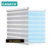 Casaya transparent Zebra stores Système anti-poussière Système de poussière Double couche Lumineuse Stores à rouleaux de rouleau pour salon Chambre à coucher Etude 210722