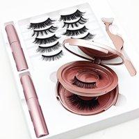 7 couples 3D Cils magnétiques magnétiques Faux Lashes +2 PCS Eye-liner liquide + Tweezer Eye Maquillage Set naturel réutilisable