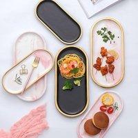Kitchen Storage & Organization Gold Plating Marble Tray Ceramic Europe Charger Plates Fruit Dessert Oval Dish Jewelry Decoration Platte