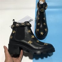 Top Qualität Mode Frauen Stiefel DeSer Leder Schuhe Kalbsleder Knöchel Biene Wüste Turnschuhe High Heeled Cowboy Schwarz Braun Diamanten Martin Winter Trainer