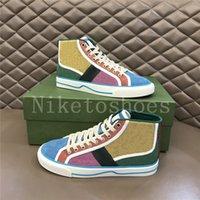 تنس نسائي 1977 متعدد الألوان أحذية عالية أعلى الأخضر والأزرق قماش مصممي الفم