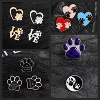 Paw Imprimer Pins Cat Dog Empreints Love Heart Coeur Mignon Badges Broches Sac Vêtements Accessoires Vêtements Épingles d'émail Pour amis Cadeaux Bijoux
