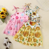 Clothing Sets 2-7 Years Baby Girls Sleeveless Flower Print Dresses Clothes Kids Summer Princess Dress Children Casual Beach Outfit