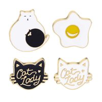 75%OFF Jewelry creative cartoon Brooch cute cat meow star fried egg purse badge clothing