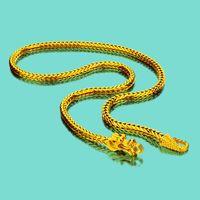 قلادة ذهبية خاصة 24K للرجال - الصينية التنين Necklace-925 سلسلة فضة سلسلة قلادة رجالية-مجوهرات فاخرة 50-60CM طول عيد ميلاد