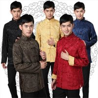 5Color 2021 Men's Chinese Top Traditional Fashion Clothing Year Tangsuit Embroidery Shanghai Men Shirt S-3XL Ethnic