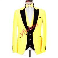 Customize One Button Handsome Peak Lapel Groom Tuxedos Men Suits Wedding Prom Dinner Man Blazer(Jacket+Pants+Tie+Vest) W906