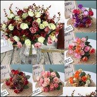 화환 축제 용품 Gardenheads 1 무리 인공 장미 신선한 꽃 장식 낭만적 인 DIY 가짜 실크 꽃 결혼식 축제 파티 호