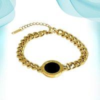 Charm Bracelets Women's Wrist Black Brand Chain Titanium Steel Bracelet Mirror Shape Stone Hand Accessories With Wholesale Offers